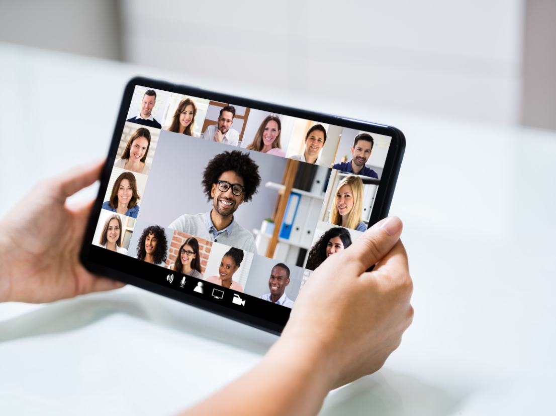 Online conference on tablet