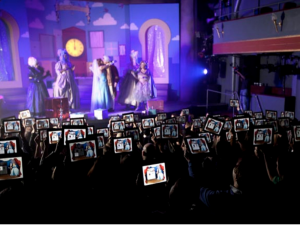 Ebay pantomime: audience members were encouraged to shop via tablet during the performance